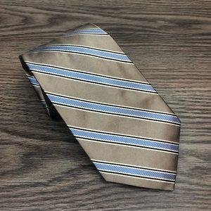 Daniel Cremieux Tan w/ Blue & White Stripe Tie